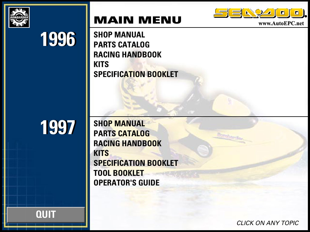 Spare parts catalogue and repair manuals Bombardier Sea Doo 1996-1997