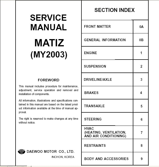daewoo matiz repair manual order download rh autodocs info daewoo lanos service manual download daewoo matiz repair manual free download