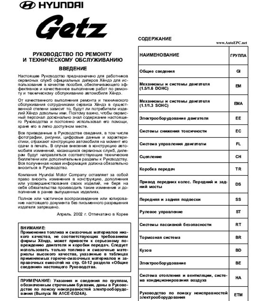 Hyundai Getz Repair Manual Order  U0026 Download