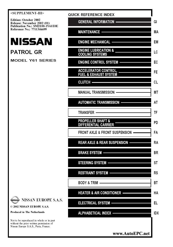 Nissan Patrol Gr Y61 Series Service Manual Repair Manual
