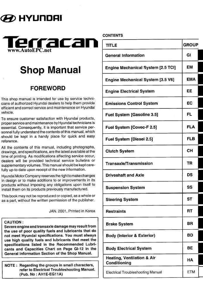 Hyundai Terracan repair manual Order Download