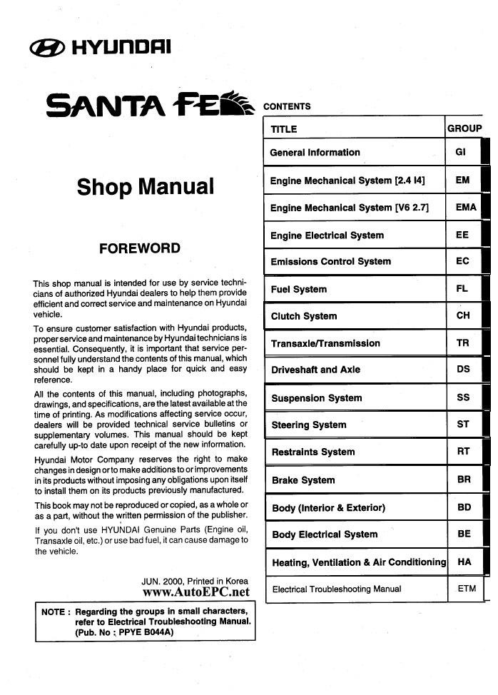 Hyundai Santa Fe Repair Manual Order  U0026 Download