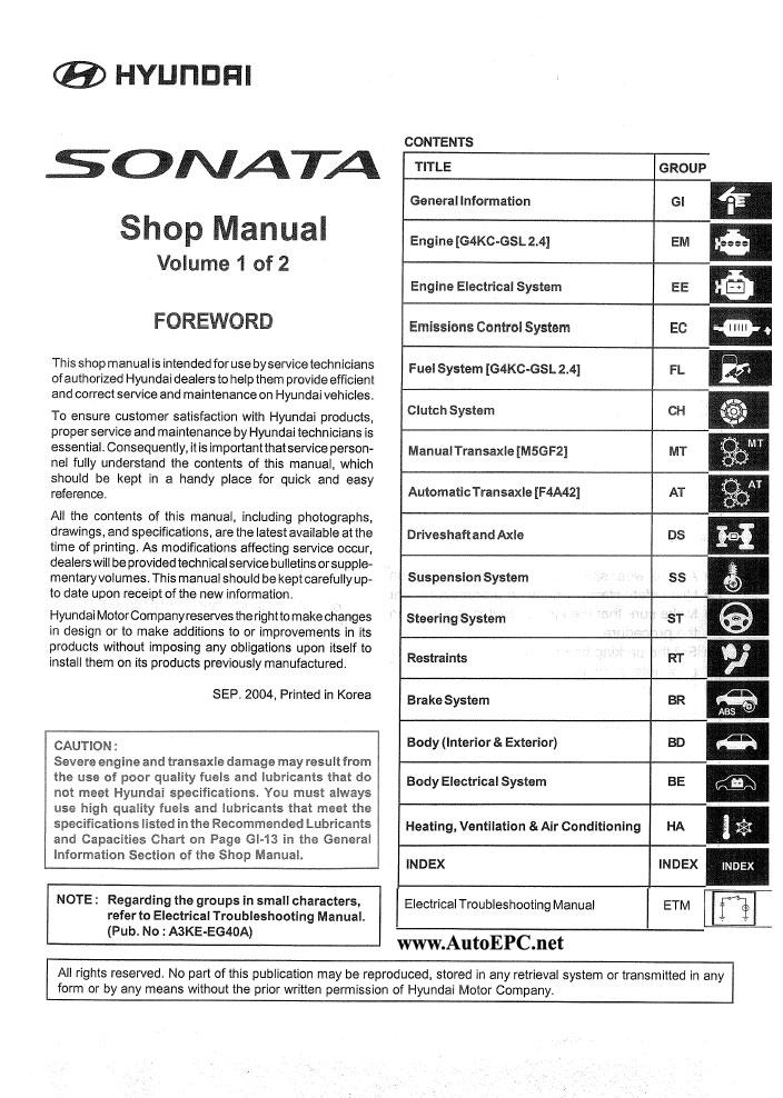 Service Manual 2005 Hyundai Sonata Workshop Manual Free