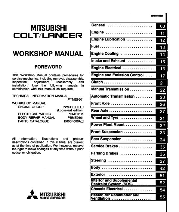 Service Manual Car Manuals Free Online 2006 Mitsubishi: Mitsubishi Colt / Lancer 1992-2004 Service Manual Repair