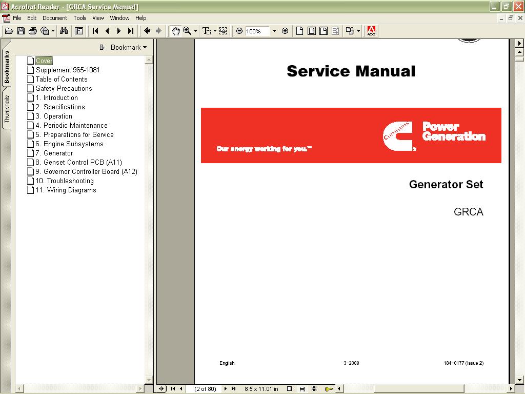 Cummins ONAN 2010 spare parts catalog, service manual