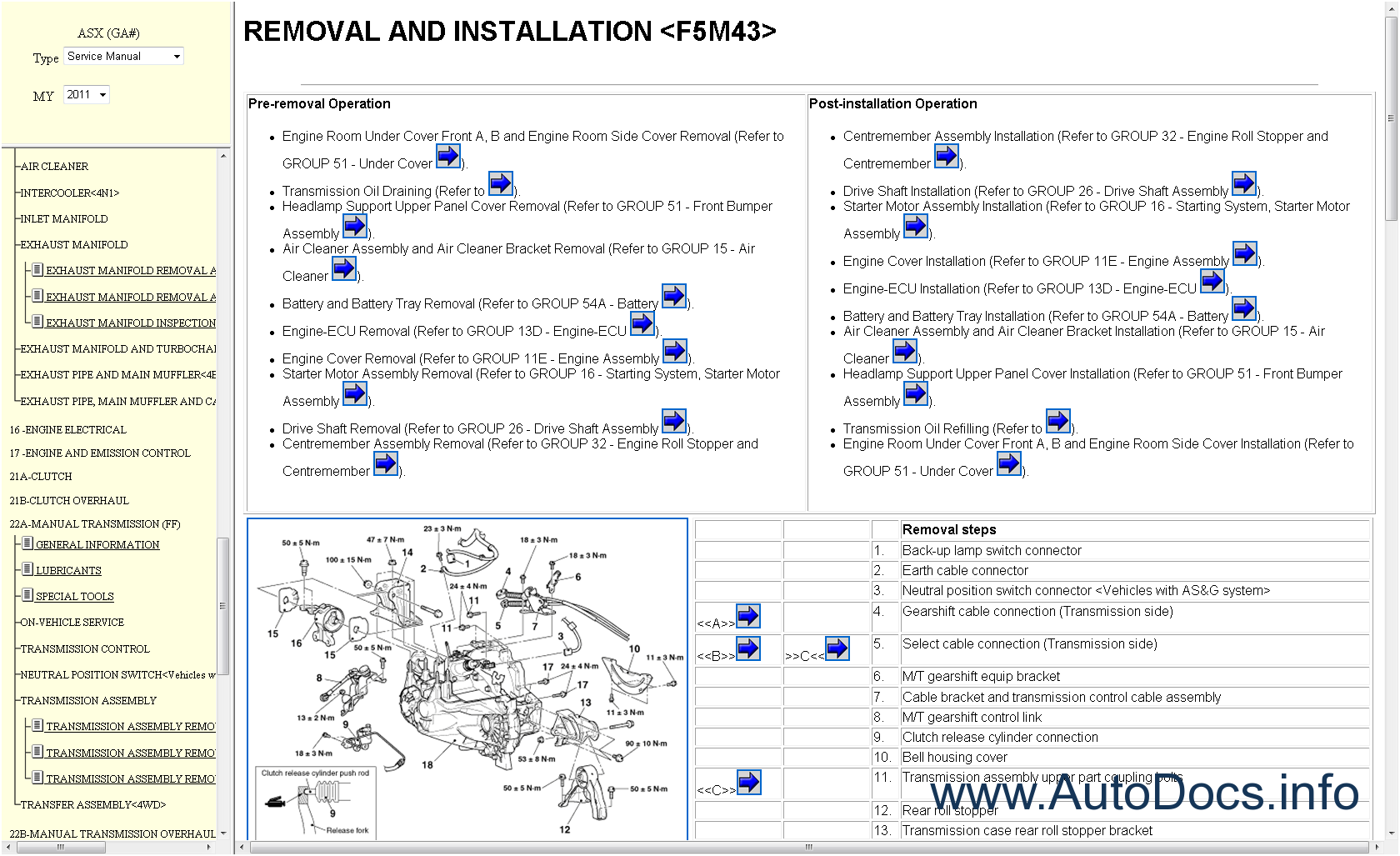 mitsubishi asx service manual download