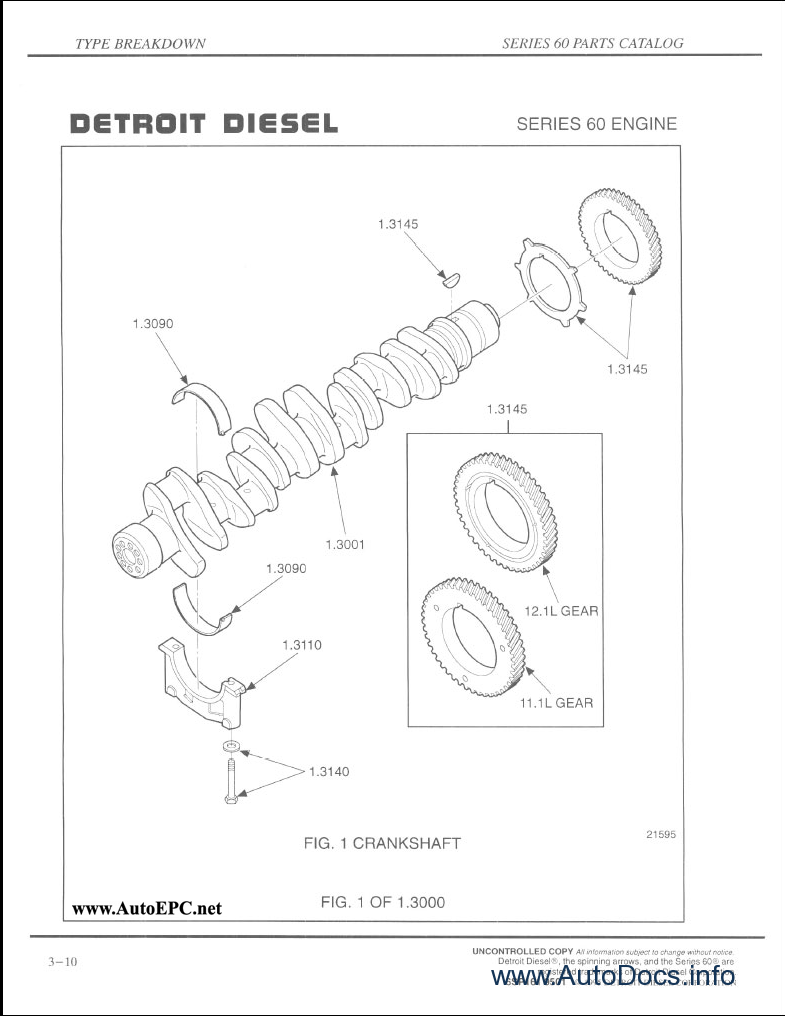 Detroit Diesel Series 50 Engines Service PARTS CATALOG Factory Manual Illustratd