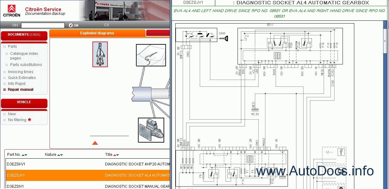 Citroen Spare Parts Catalog  Repair Manual  Service Manual