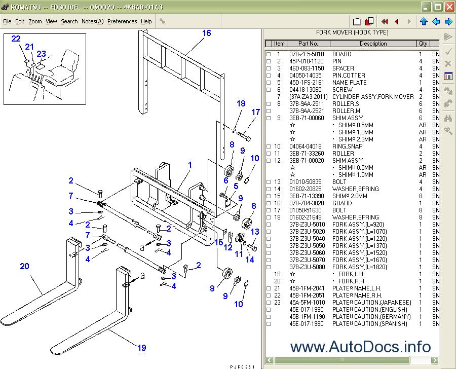 komatsu forklift truck spare parts catalog parts books. Black Bedroom Furniture Sets. Home Design Ideas
