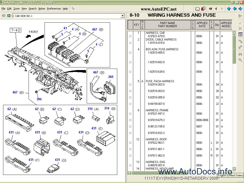 Isuzu Css-Net spare parts catalog, parts book, parts manual for ...