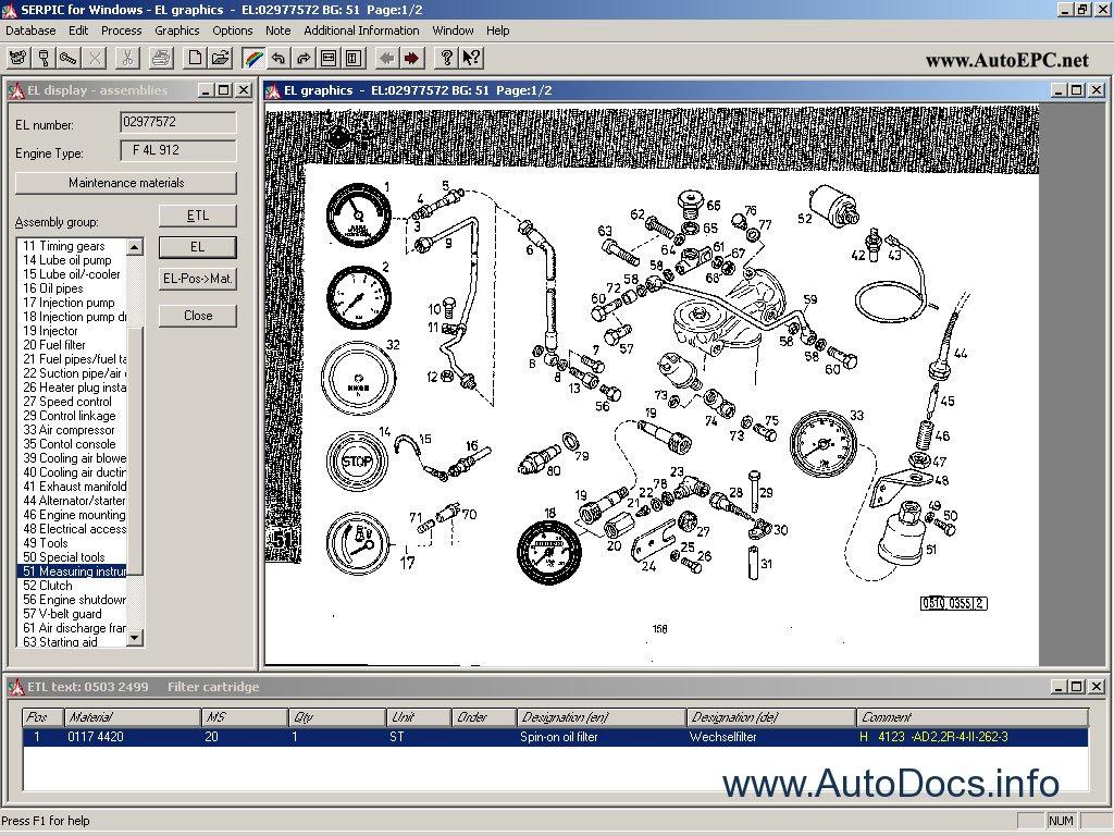 Deutz Serpic Electronic Spare Parts Catalogue Engines