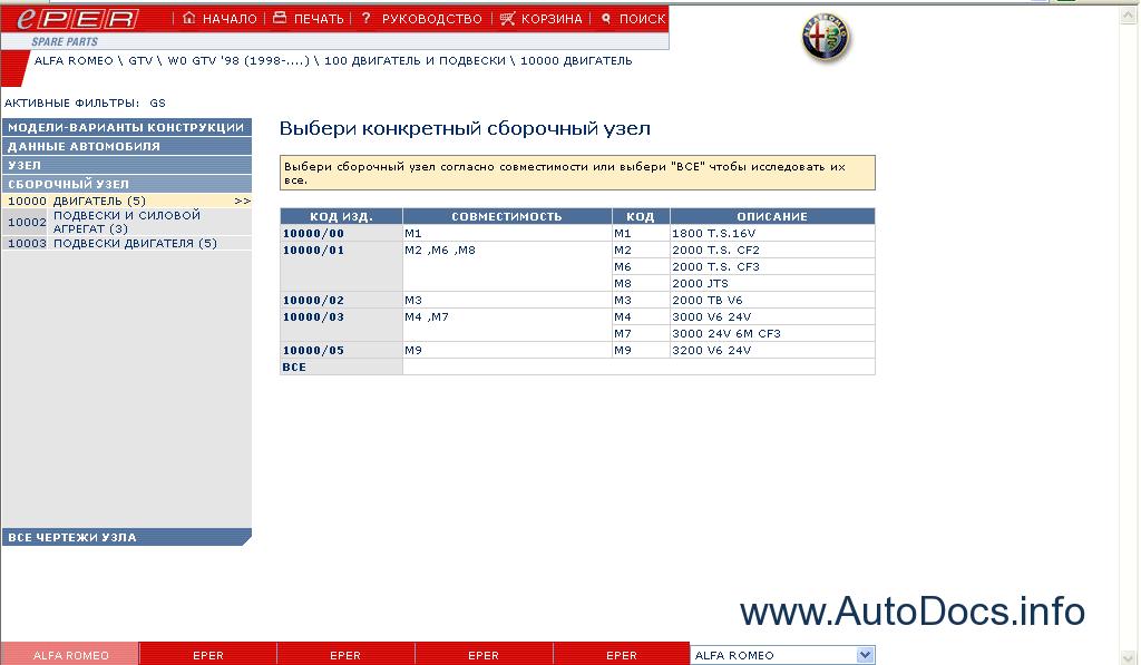 Alfa Romeo Parts Catalog Order  U0026 Download