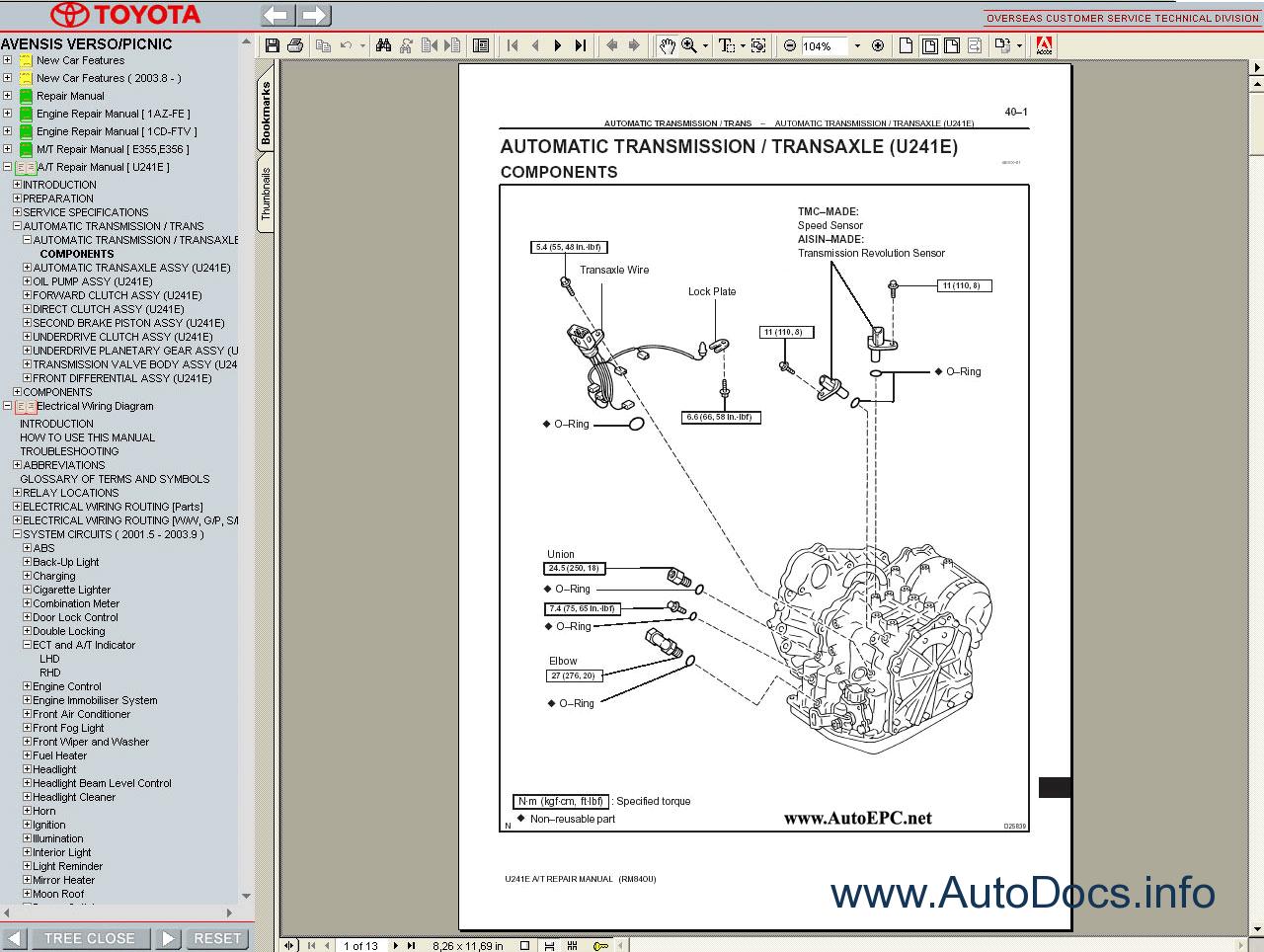 Toyota Avensis Verso    Picnic Service Manual Repair Manual