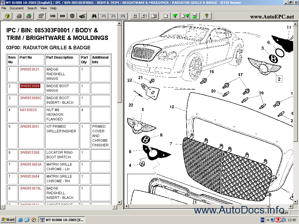 Bentley Continental Gt Catalogue Of Spare Parts