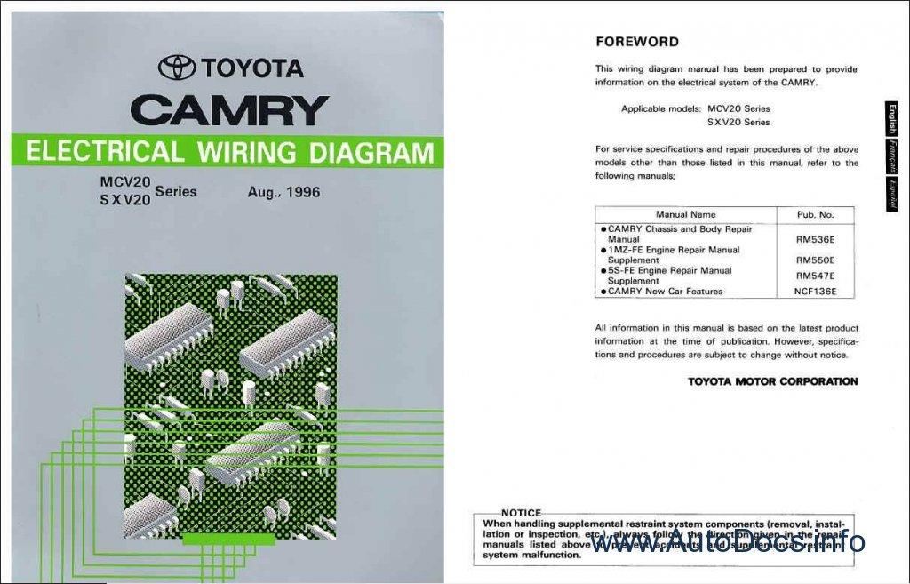 Toyota Camry 1996 Wiring Diagram repair manual Order ...