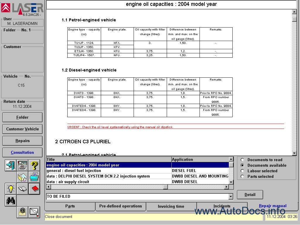 Citroen Parts And Repair 2006 Parts Catalog Repair Manual