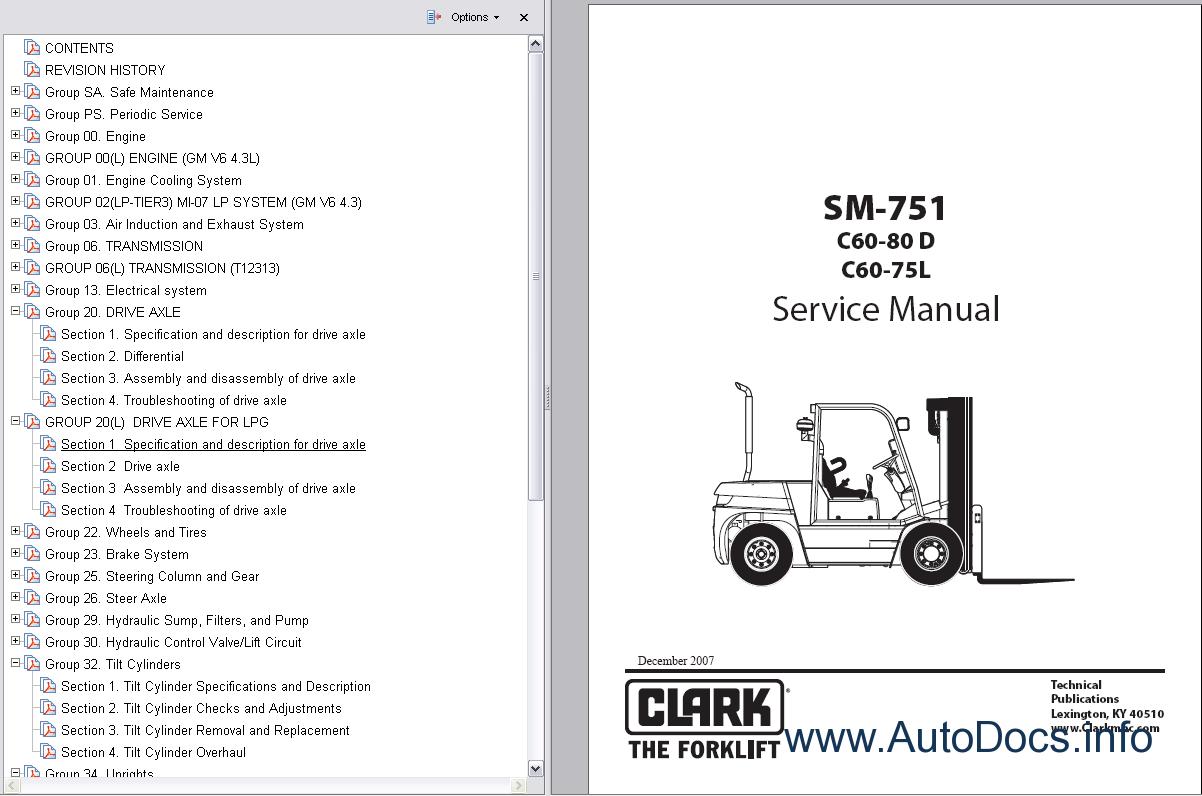 Clark Forklift Trucks Service Manuals Repair Manual Order  U0026 Download