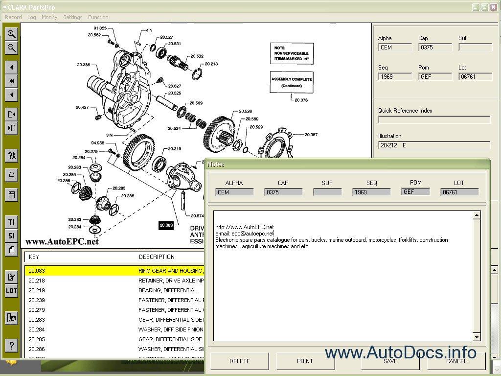 Clark Forklift Truck Parts Pro 2010 Parts Catalog Repair Manual Order  U0026 Download