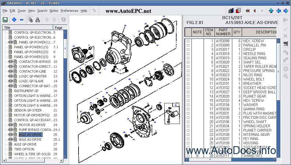 Daewoo ForkLift electronic spare parts catalogue contains ... on