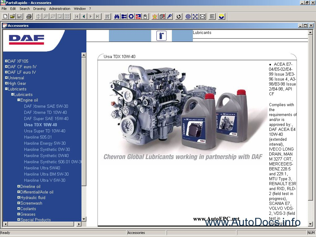 Daf Rapido 2010 parts catalog Order & Download