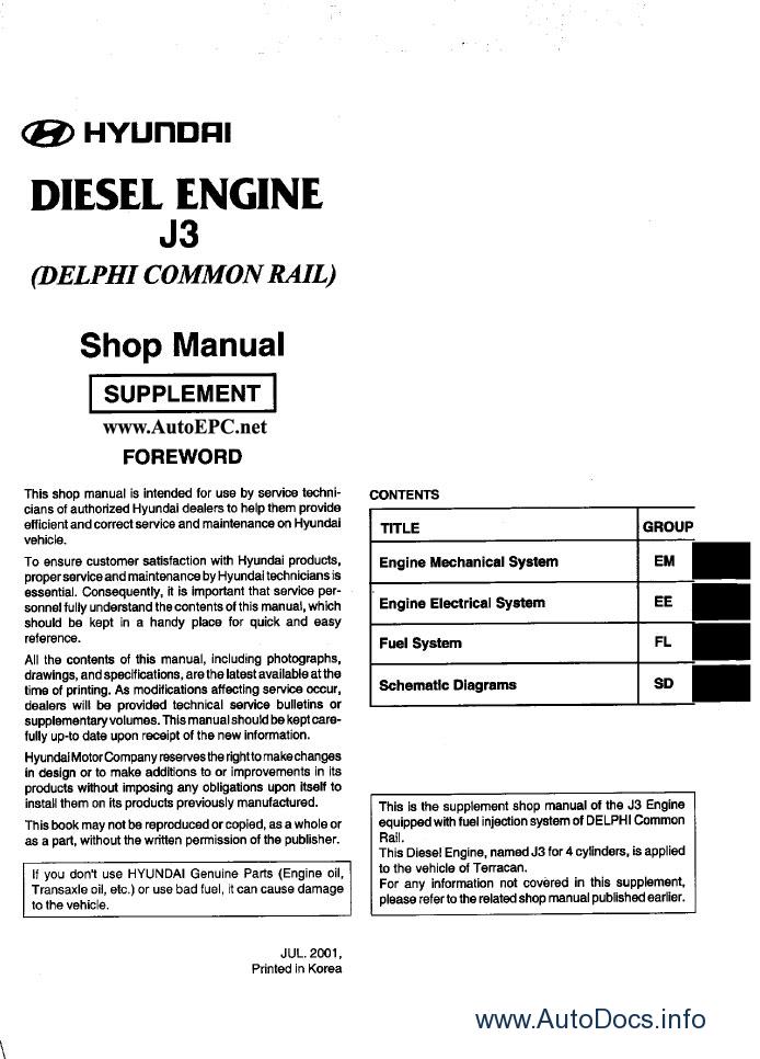 Hyundai Terracan repair manual Order amp Download