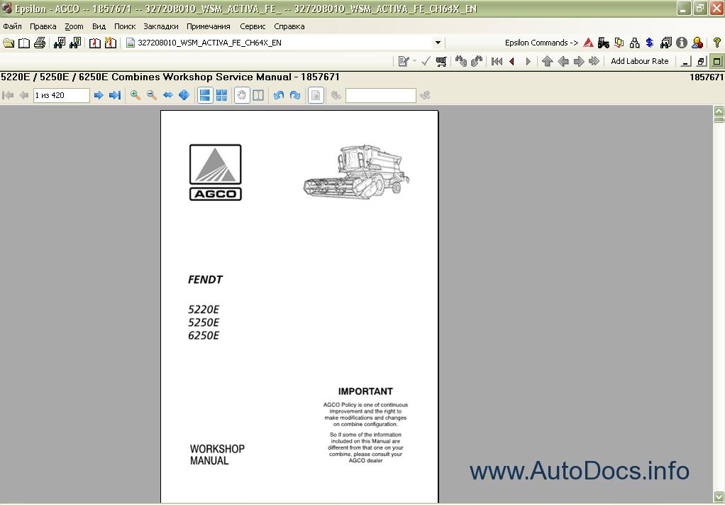 Fendt Epsilon spare parts catalogue, repair manual, service