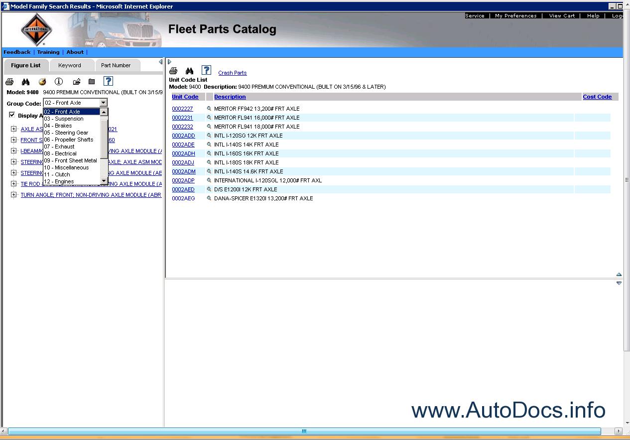 International Truck Fleet Parts Catalog Online 2010 Parts