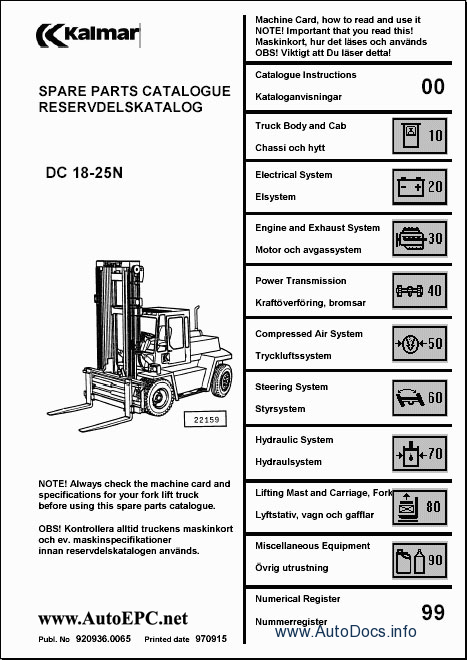 Kalmar Lift Truck Parts Catalog Repair Manual Order  U0026 Download