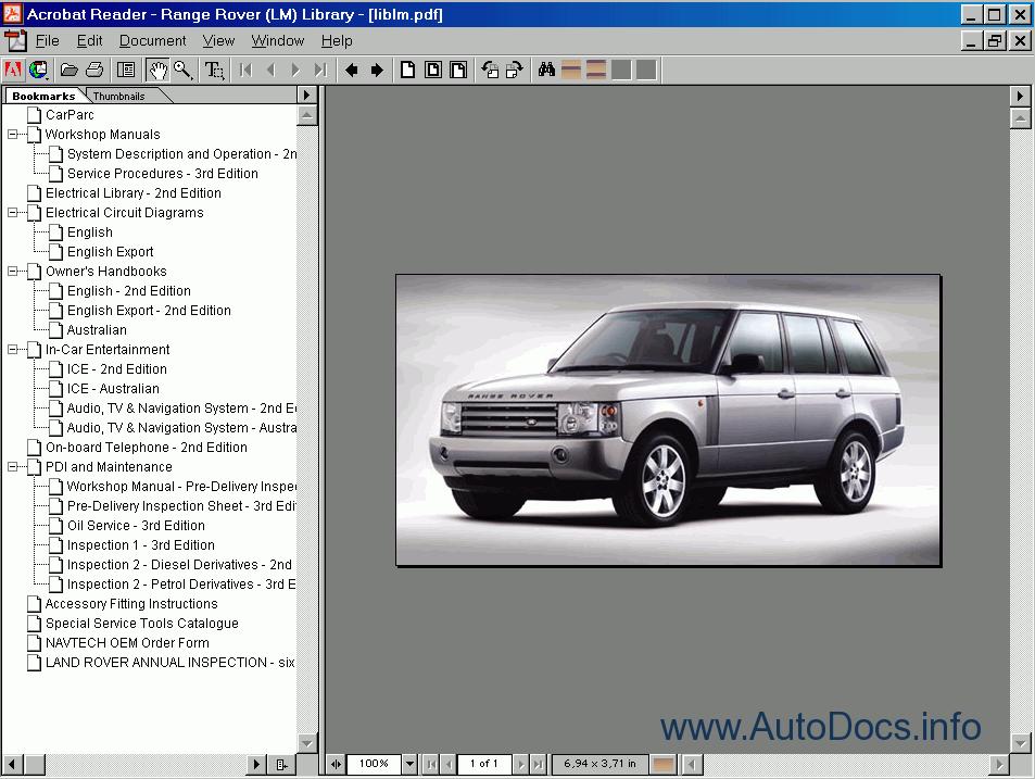 Range Rover  Discovery I  Ii  Defender  Freelander 1997