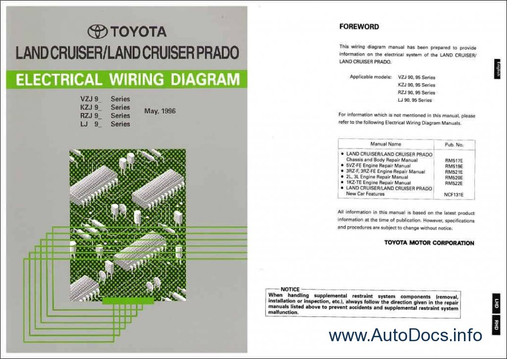 Toyota Land Cruiser Prado Wiring Diagram Repair Manual Order  U0026 Download