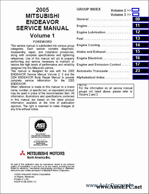 Mitsubishi Endeavor 2004 Service Manual Repair Manual