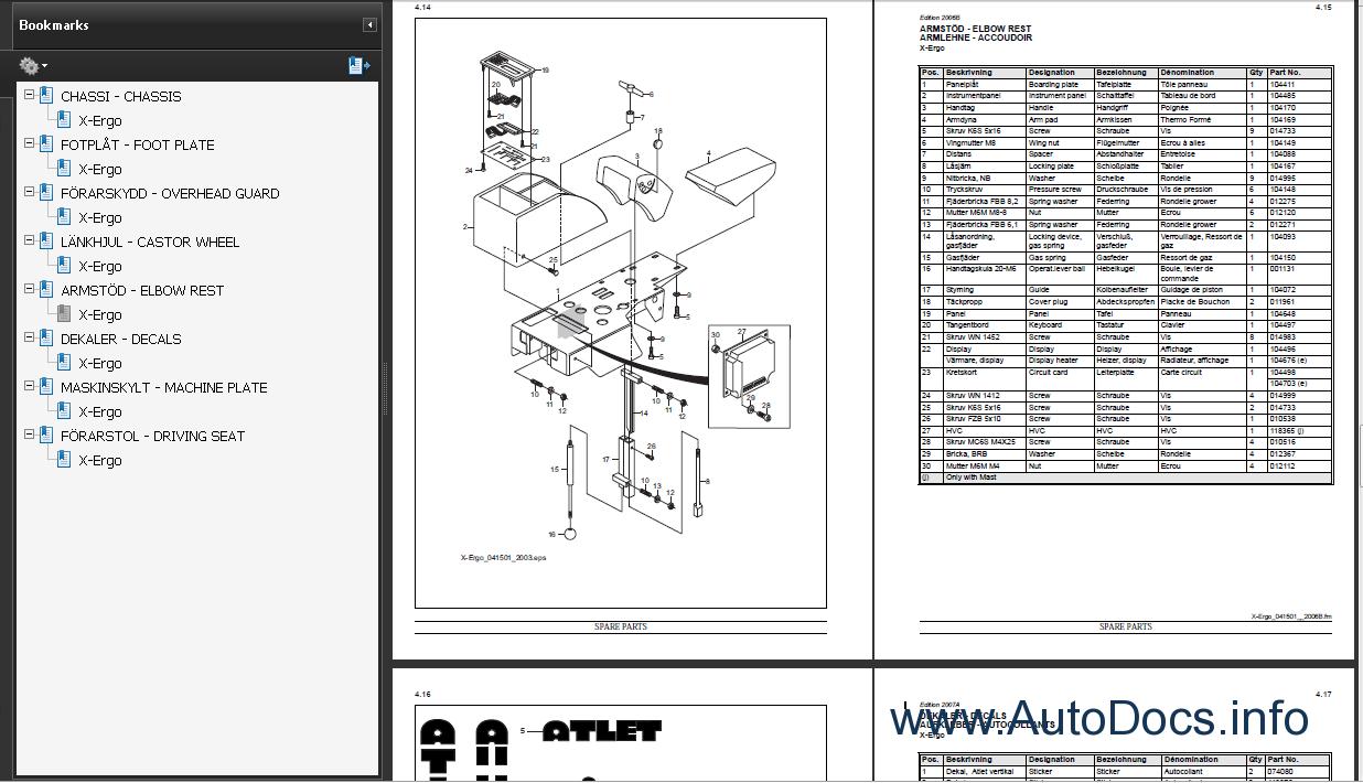 Nissan Atlet Forklift Spare Parts Catalog Parts Manual