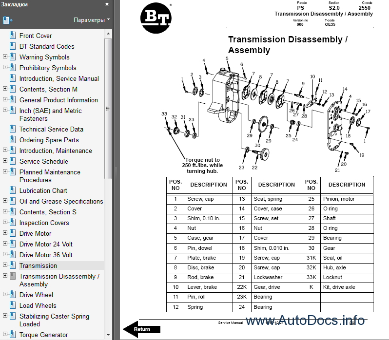 bt oe35 forklift parts and service manual parts catalog