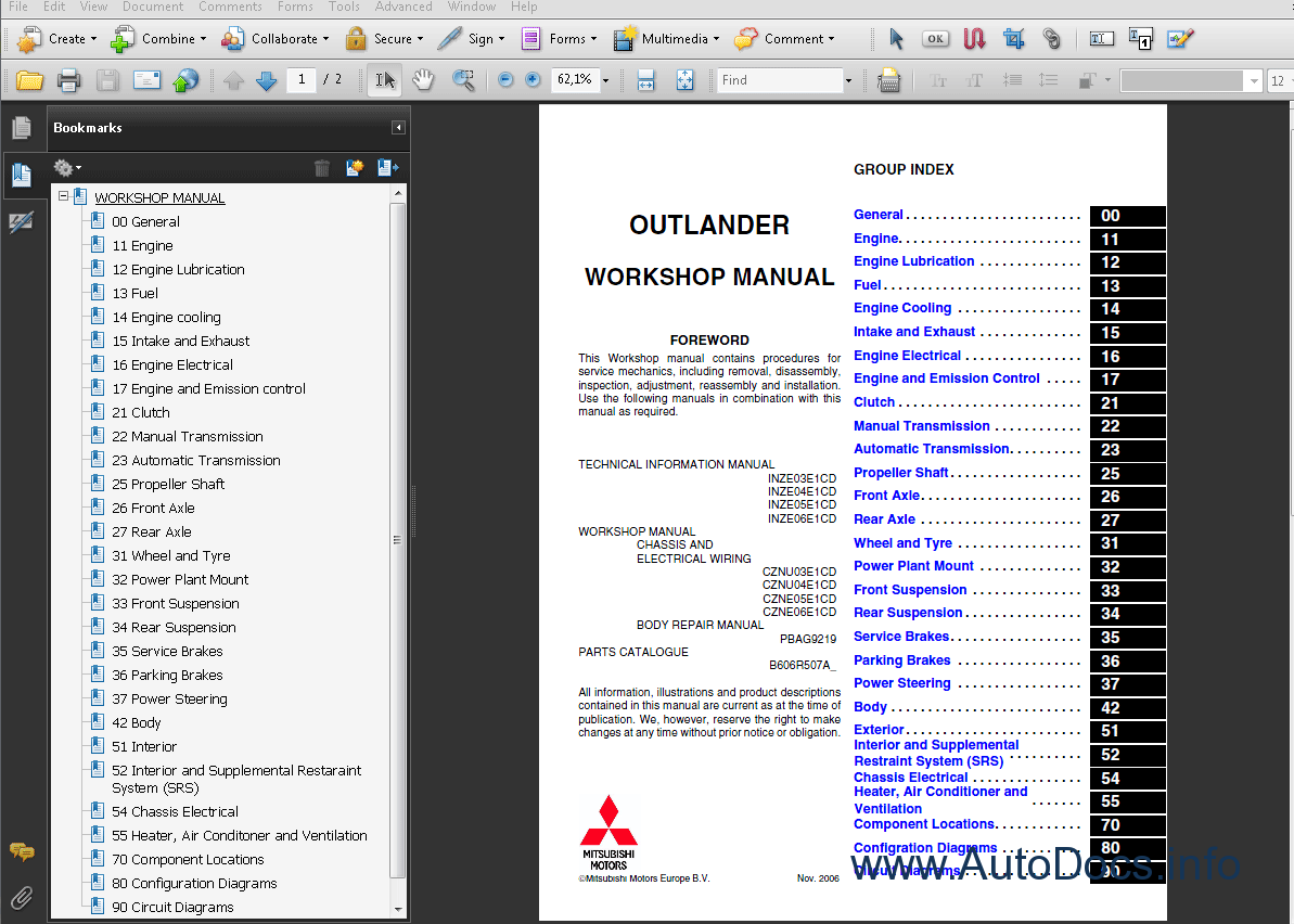 Mitsubishi Outlander 2006 repair manual Order   Download