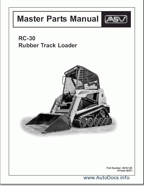 asv rc loader parts catalog repair manual order spare parts catalogue and repair manuals asv rc 30 loader 1