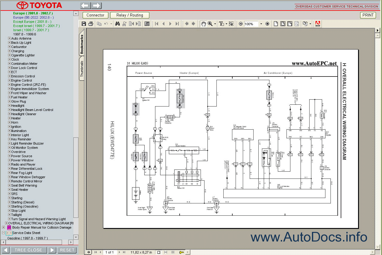 Wiring Diagram For Toyota Hilux : Toyota hilux  service manual repair order