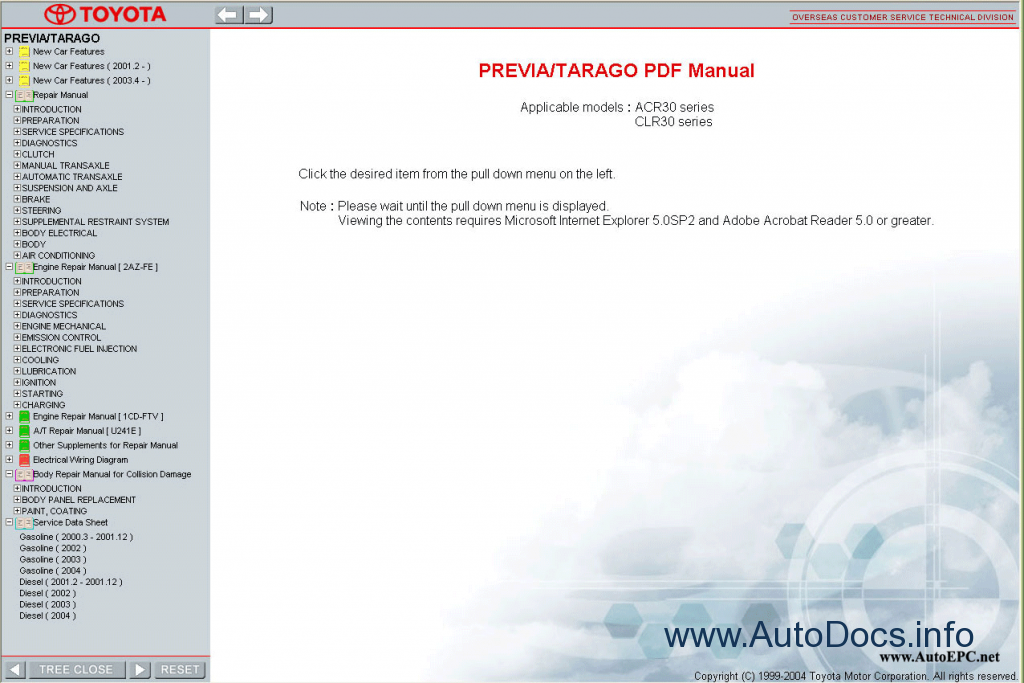 Toyota Previa    Tarago Workshop Service Repair Manual