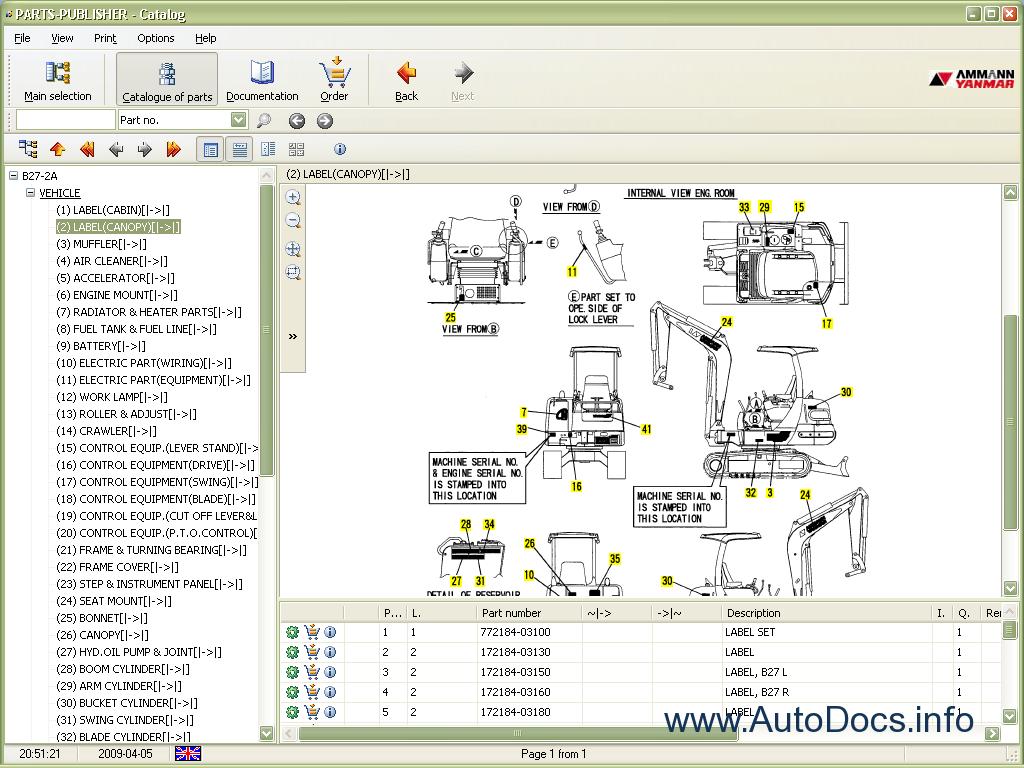 Yanmar EPC 2009 parts catalog repair manual Order   Download