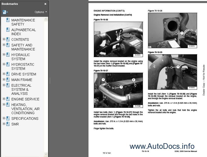 Bobcat S250-S300 Skid-Steer Loader Service Manual repair manual Order & Download