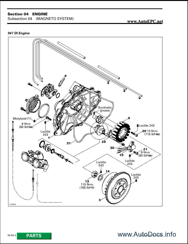 Bombardier Sea Doo 1999 2000 parts catalog repair manual