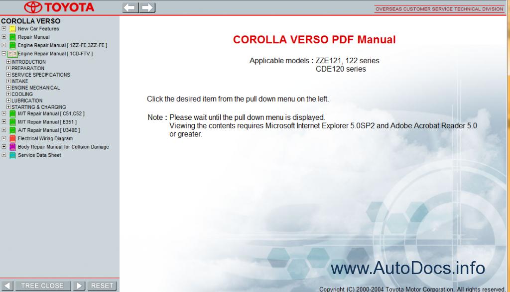 toyota corolla 2004 repair manual
