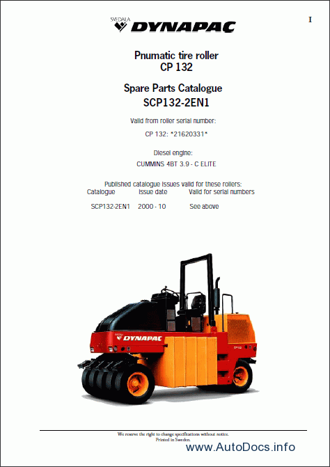 Dynapac spare parts catalogue parts manuals repair
