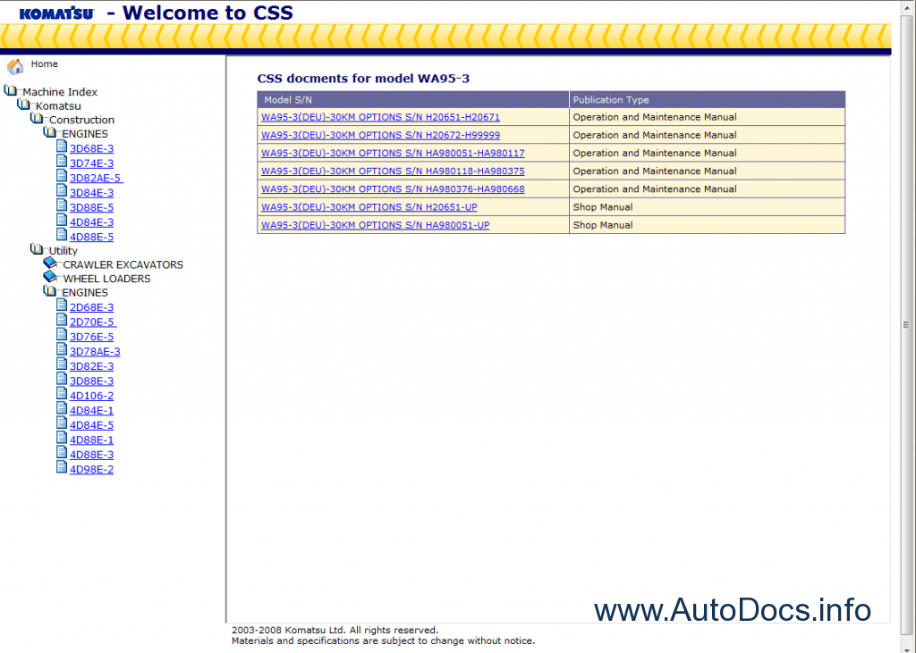 ... Repair Manuals / Komatsu CSS Service Utility - Crawler Excavators and