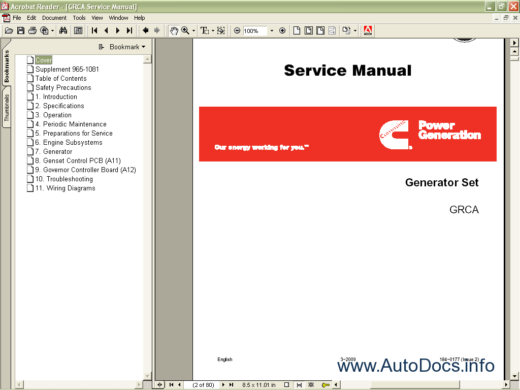 Cummins Onan 2011 Spare Parts Catalog  Service Manual