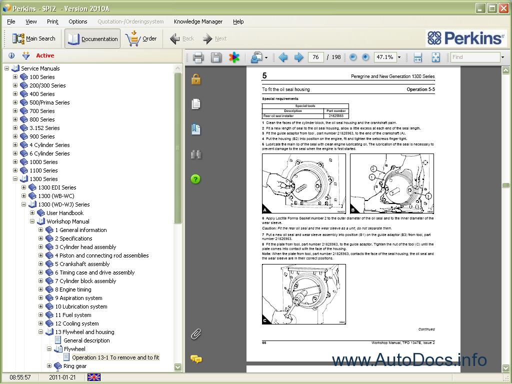 perkins spi 2 2012a parts catalog repair manual order
