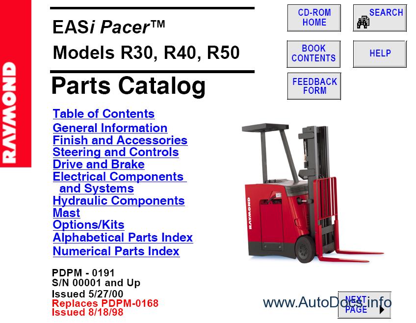Raymond Forklift Truck Parts Manuals parts catalog Order