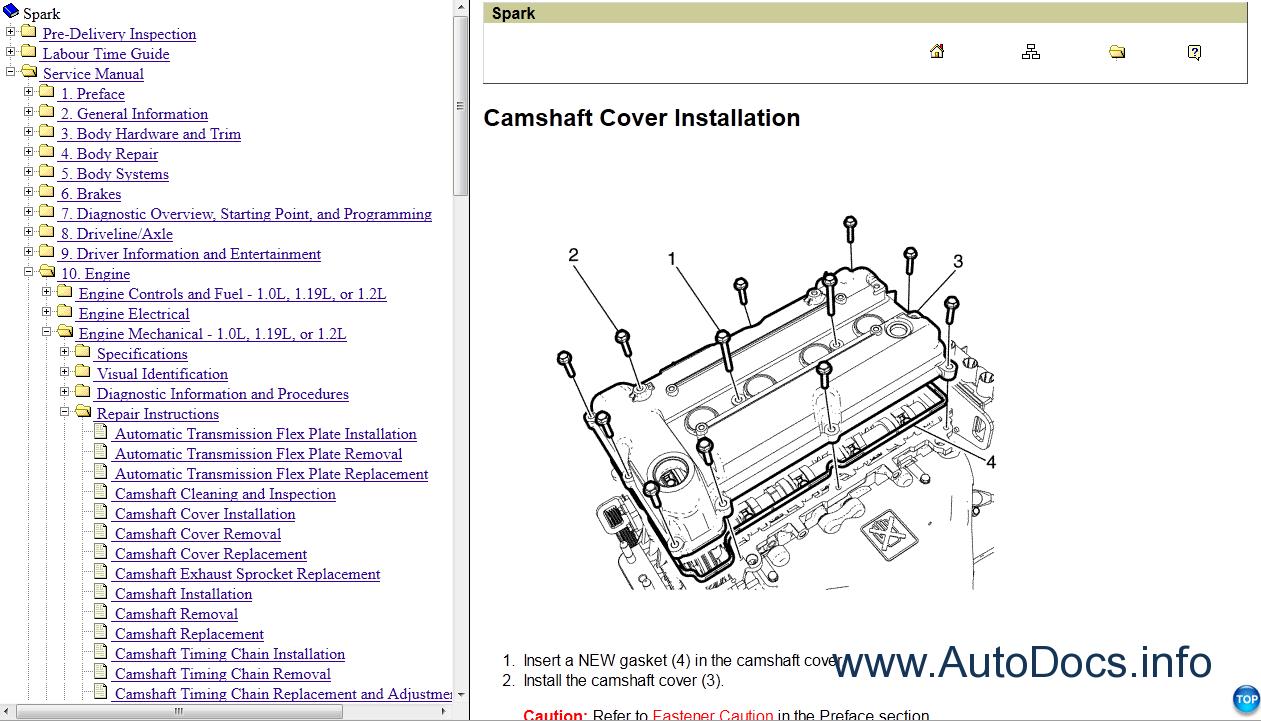 Repair manuals Chevrolet Spark (M-300) Service Manual 2010-2011 - 1 ...