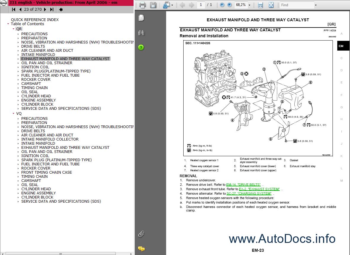 Nissan    Teana        J31    series Service Manual repair manual