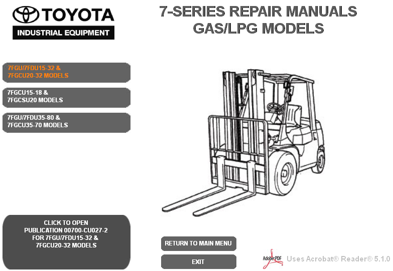 Toyota Forklift 7 Series GAS/LPG Models Service Manual repair ... on nissan forklift engine diagram, forklift brake diagram, forklift controls diagram, liebherr wiring diagram, toyota forklift parts catalog, toyota forklift ignition, forklift schematic diagram, toyota forklift distributor, skytrak wiring diagram, bomag wiring diagram, toyota forklift heater, toyota forklift assembly, ingersoll rand wiring diagram, hyster wiring diagram, jungheinrich wiring diagram, clark wiring diagram, challenger wiring diagram, toyota forklift distribuator wiring, toyota forklift serial number, nissan wiring diagram,