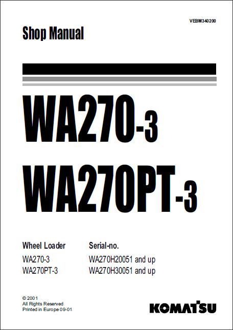 ... Repair Manuals / Komatsu Wheel Loader WA270-3 Service Manual